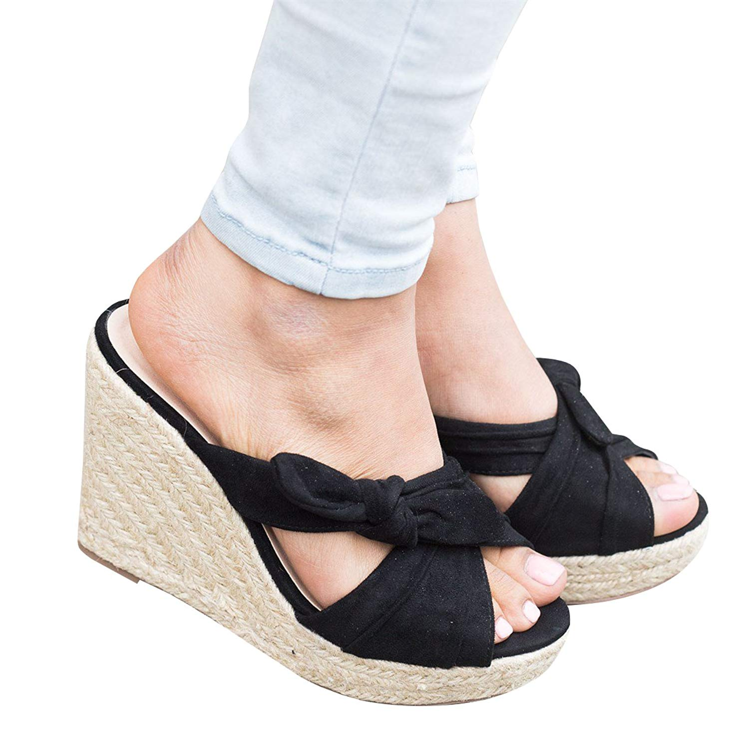 3b8af2313e5 Get Quotations · Womens Wedges Thong Flip Flop Peep Toe Slip On Cross Strap  Bow Espadrilles Platform Slingback Sandal