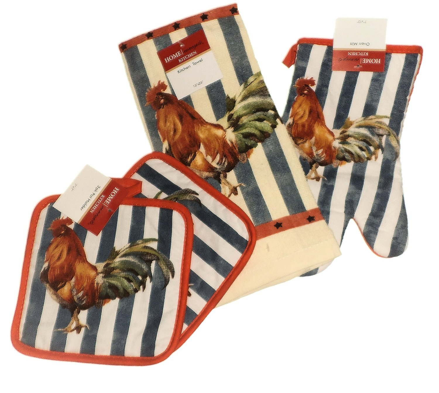 4 Piece Rooster Country Stripe Design Kitchen Set with 2 Potholders, 1 Oven Mitt & a Towel