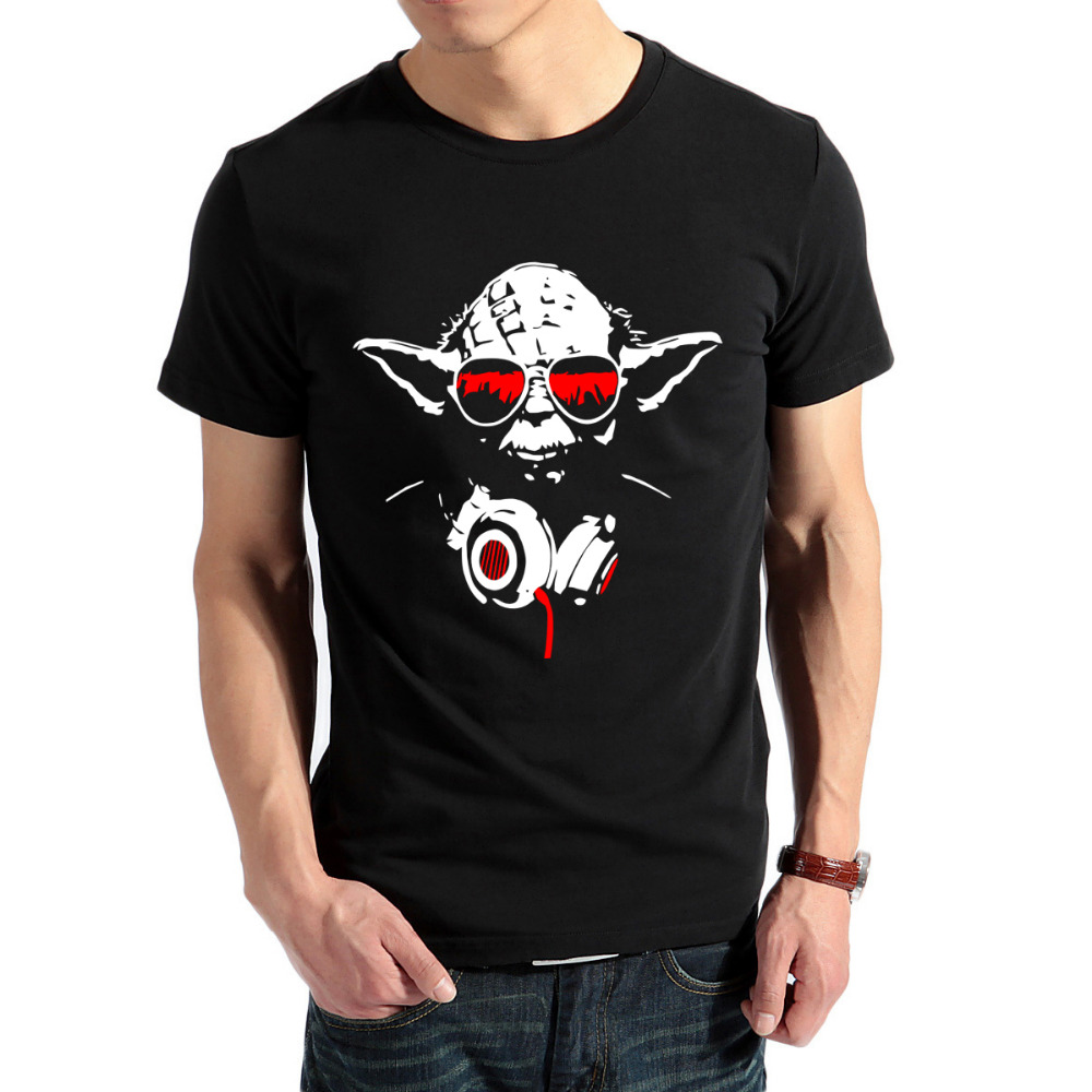 men short sleeve t shirts cool dj yoda star wars funny t shirts fashion casual cotton tshirts. Black Bedroom Furniture Sets. Home Design Ideas