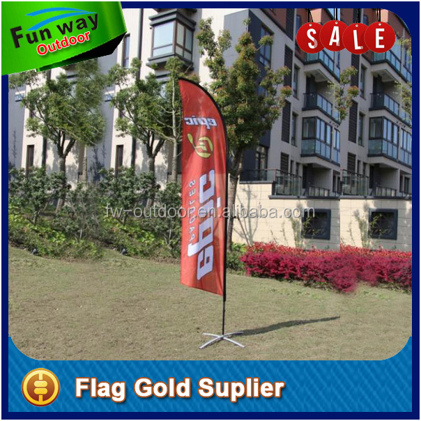 Aluminum Flagpole and Polyester Flag Material 4m Outdoor Advertising Feather Banner