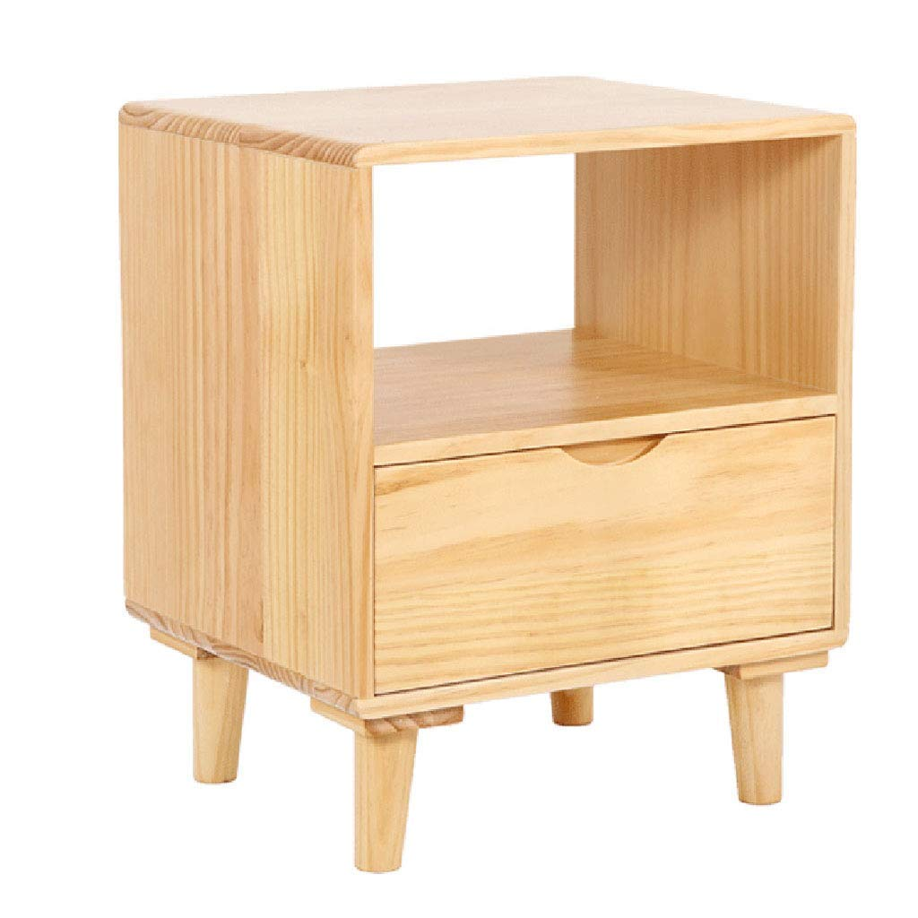 Nightstands Bedside Table Storage Side Cabinet Storage Cabinet Solid Wood Cabinet Mini Cabinet Creative Cabinet (Color : Wood Color, Size : 553845cm)