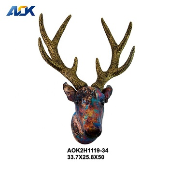 Vivid 3D Bar Deer Shape Resin Wallang  Animal Head Sculpture