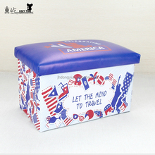 Best selling PU storage stool Printed storage stool folding storage box