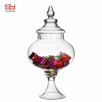 2019 Hot Products Clear traditional Handcraft glass storage jar with lid