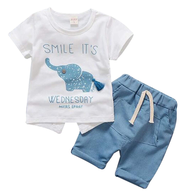 daqinghjxg 2pcs Suit Tees Green Shorts Children Clothing Set for Baby Boys Clothes