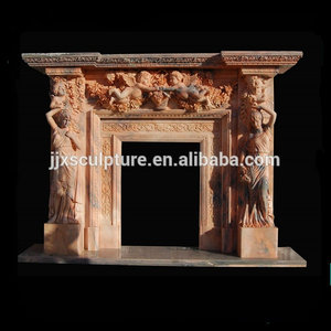 Hand Carved Pink Marble Fireplace