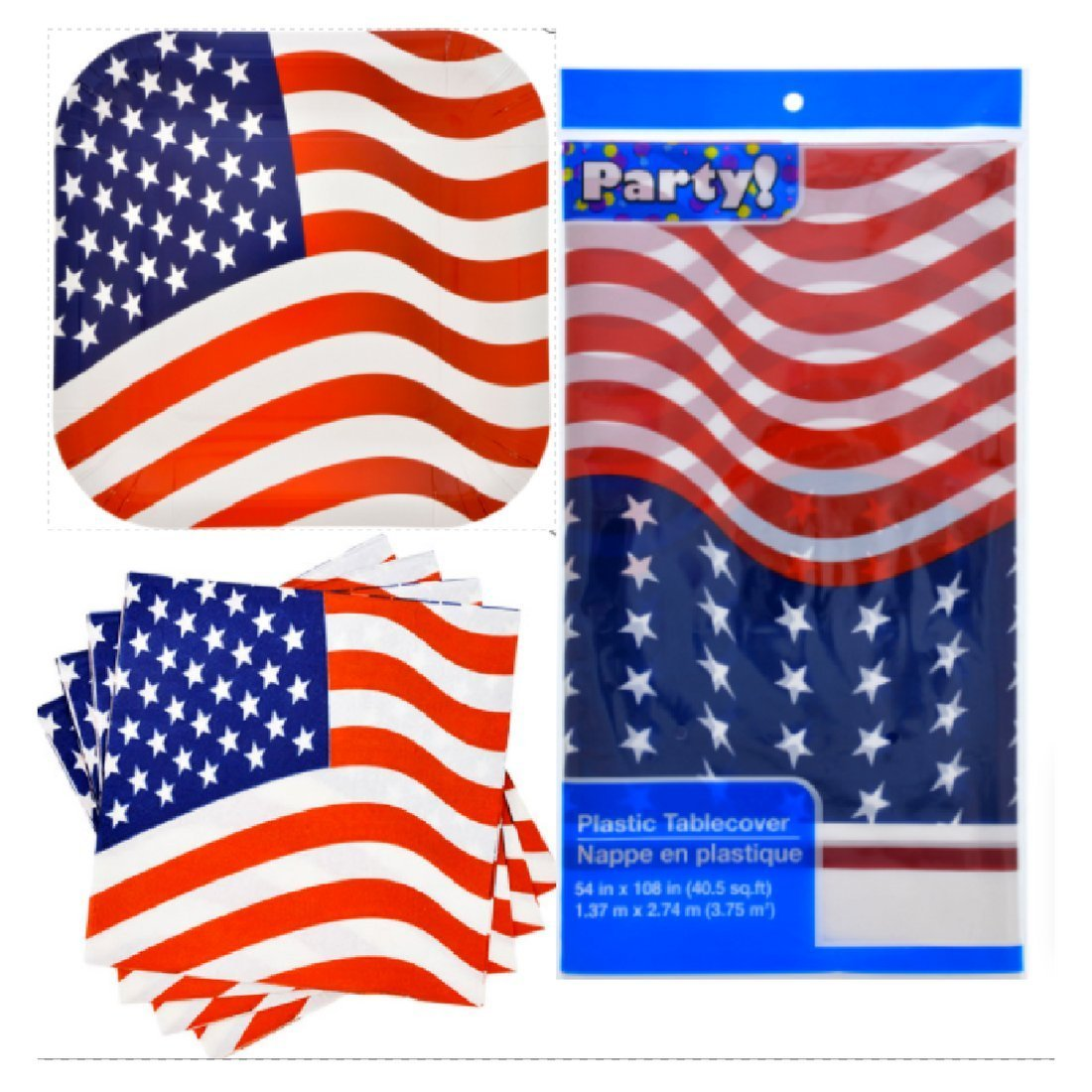 American Flag Party Set 2 Pack of Plates (28) 2 Pack Of Flag Napkins (40) 2 Rectangle Flag Table Covers 54 in x 108 in (40.5 sq,ft)