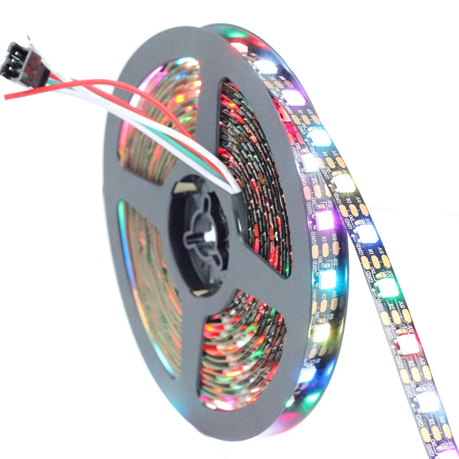 INVOLT 16.4FT 300 Pixels WS2812B Programmable Addressable LED Strip Light Black PCB 5050 RGB Dream Color Flex LED Rope Light DC5V Not Waterproof W/Connector & Sticker