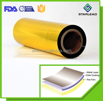 Matte Finish Colored Polyester Film Gold Metalized Pet Film Golden Film  Roll - Buy Gold Metalised Film,Golden Film,Colored Polyester Film Product  on