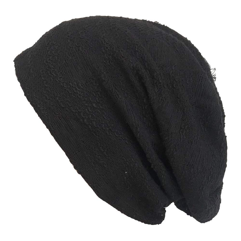 SUKEQ Slouchy Hollow Beanie, Stylish Thin Hip-hop Soft Stretch Knit Beanie Hat Skull Cap Casual Outdoor Hood Caps (Black)