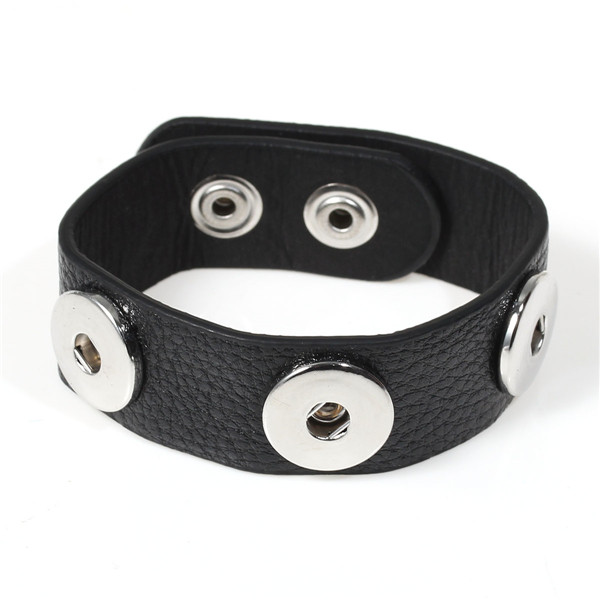 Real Leather Snap Button Jewelry Bangles Fit Snap Buttons Black Silver Tone 25cm long, Snap Charm