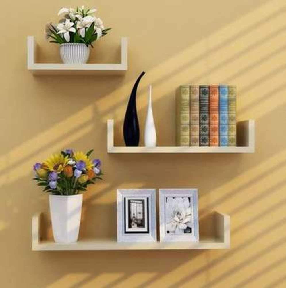 KLWJ Floating shelves, U shaped wall shelf wood shelves set corner shelf unit storage shelving bookshelf creative colorful wall shelf-G