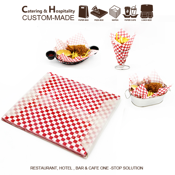 Wholesale Fast Food Grade Printed Greaseproof Wrapping Meat / Sandwich/Hamburger Paper with Red/black gridding pattern