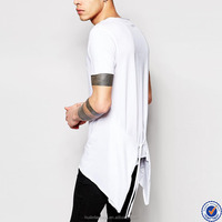 mens clothing online shopping india scoop neck asymmetric hem with tie side t shirt