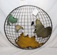 Round painting ball wire antique metal world map wall art