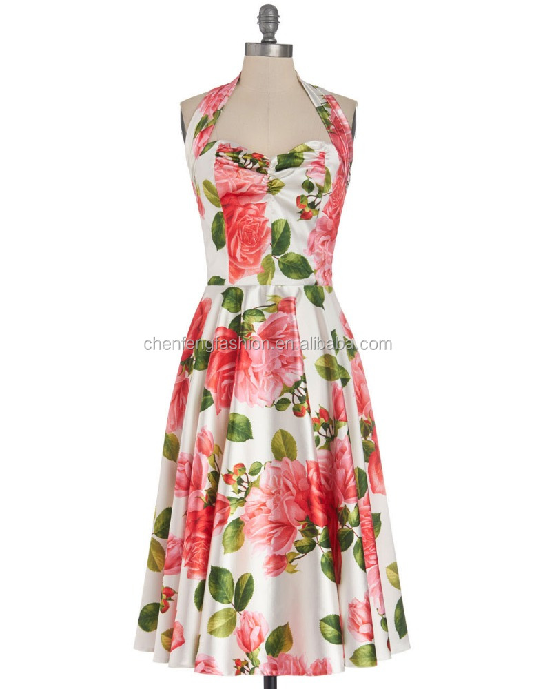 CHEFON Pink and green rose print gathered halter straps sun dresses halter dresses for women