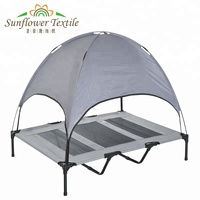 Outdoor Dog Bed, Elevated Pet Cot with Canopy, Portable for Camping or Beach, Durable Oxford Fabric, Extra Carrying Bag