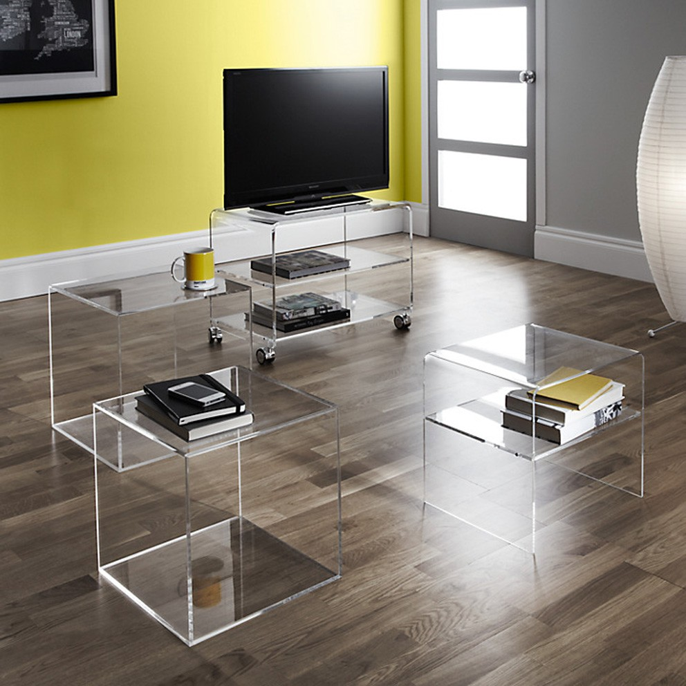 Acrylic Cube Nest Of 2 Tables, Lucite Console Table Bedside Table Living  Room Furniture Side Part 70
