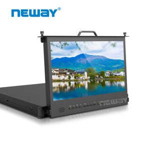 "NEW 17.3"" 1Ru Pull-out Rack Mount 4K HD-MI 3G SDI 1920x1080 Full HD Broadcast Monitor"