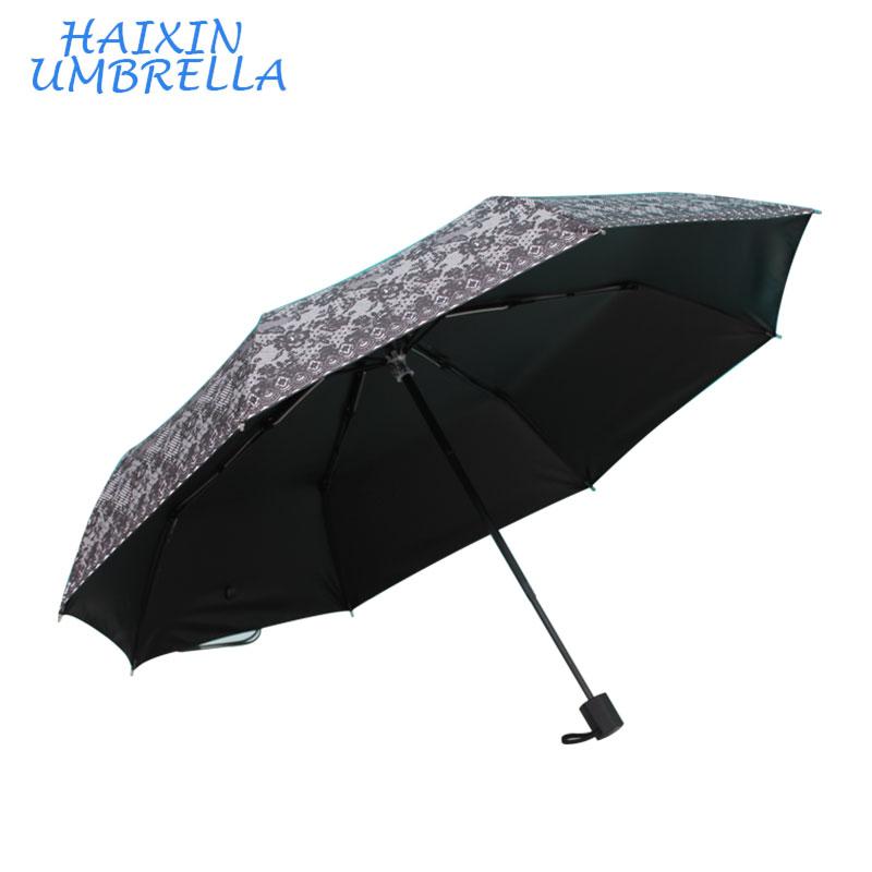 Creativo lindo Mini 3 plegable sombrilla de encaje negro paraguas boda personalizado Digital imprimir en el paraguas importados de China