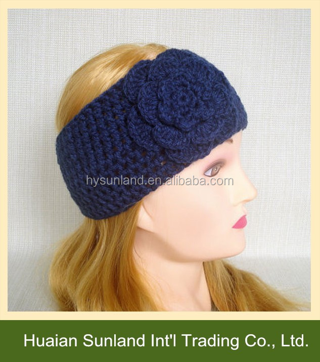 W-534 stylish knit pattern crochet headband with flower for women ear warmer