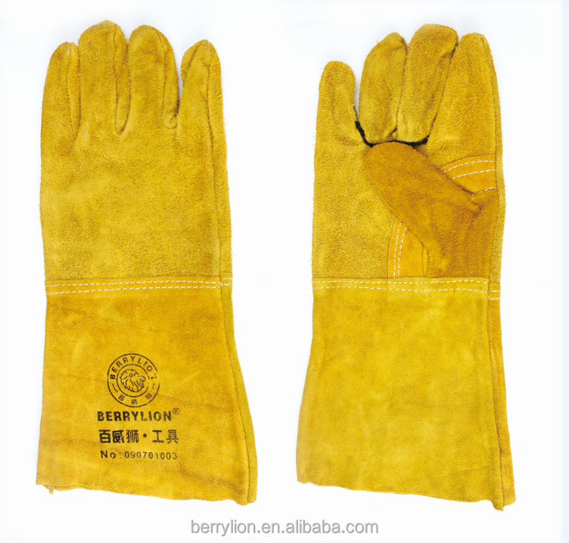 Berrylion Thick Golden Yellow Color Industrail <strong>Gloves</strong> Safety <strong>Gloves</strong>