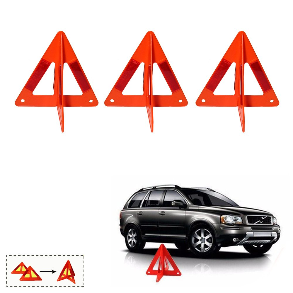 3 Emergency Warning Triangle Auto Car Breakdown Red Reflective Safety Road Sign