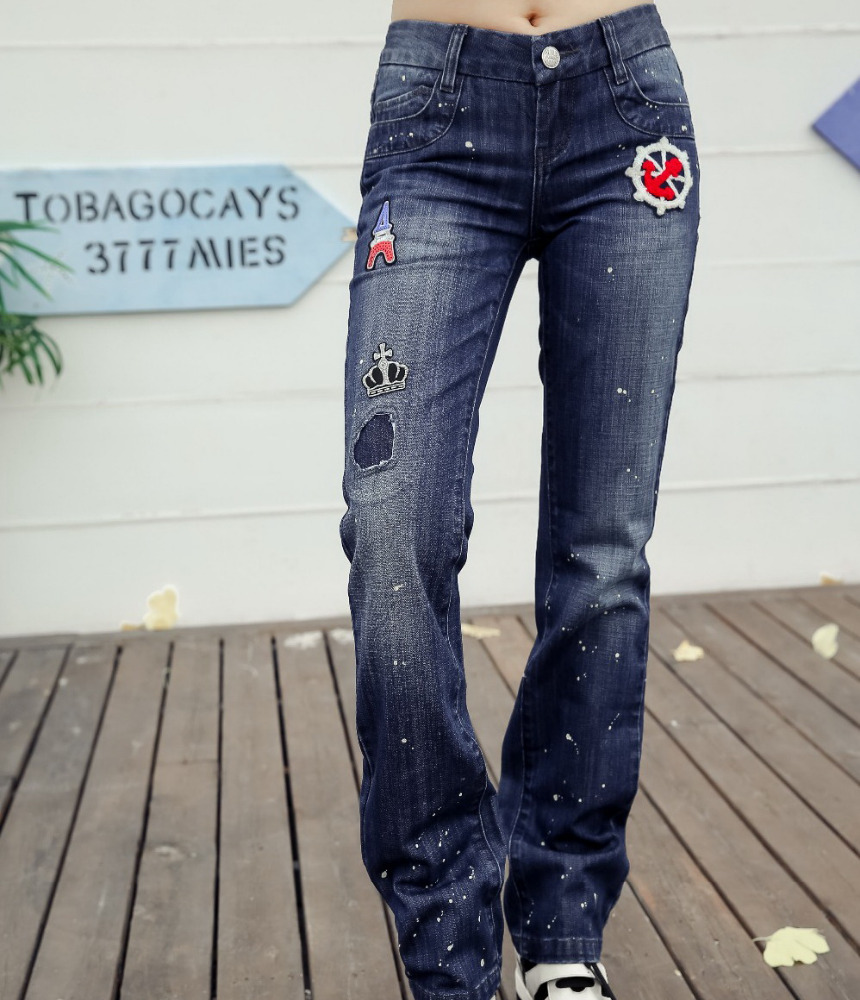 towel embroidery washed jeans pants with broken patch on leg