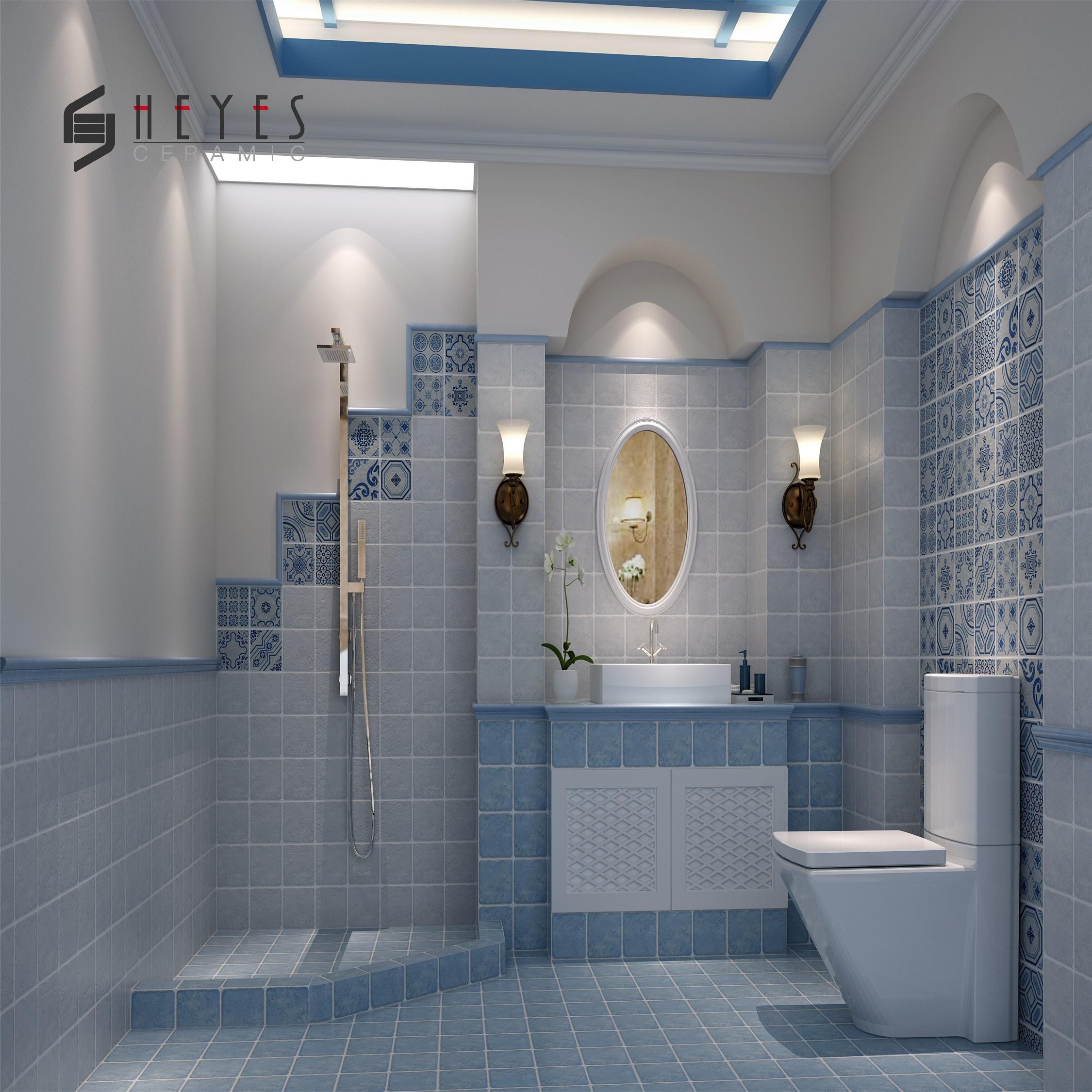 Blue Flower Ceramic Bathroom Floor Kitchen Wall Tiles Supplier Buy Bathroom Floor Tiles Ceramic Floor Tiles Wall Flower Tiles Kitchen Product On Alibaba Com