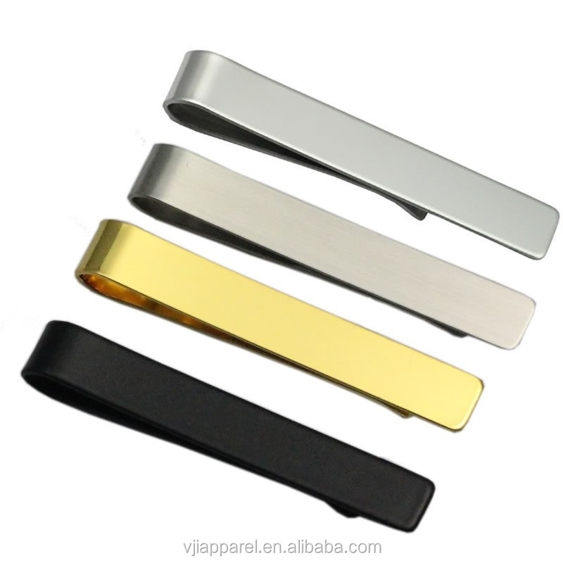 Short Silver Stainless Steel Engravable Tie Bar