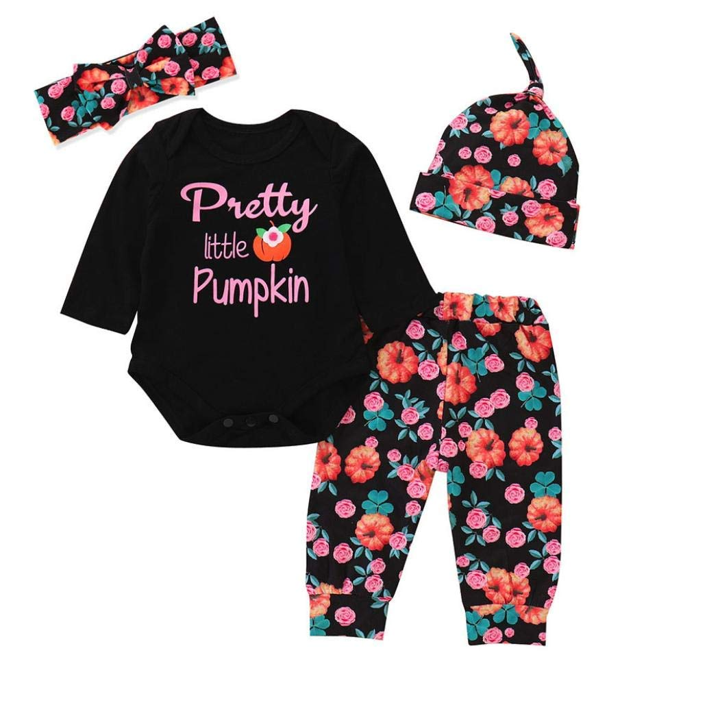Toddler Baby Girl 3Pcs Clothes Sets 0-24 Months,Lovely Long Sleeve Halloween Print Romper Applique Skirt Leg Set Outfit