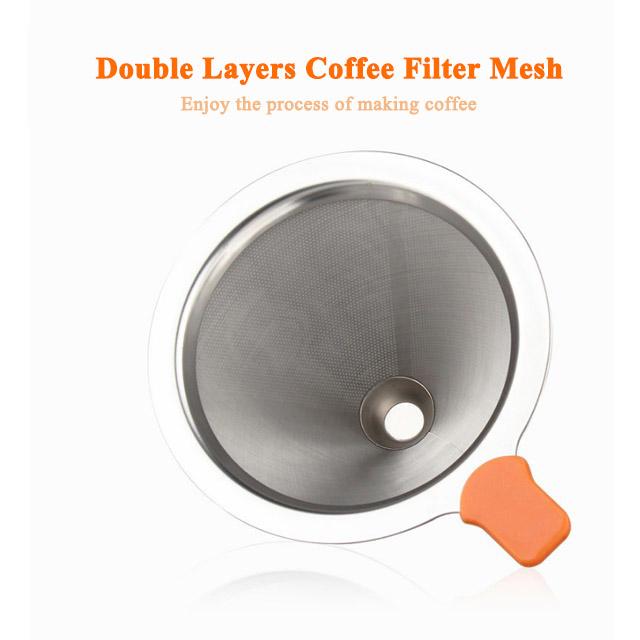 Qualité alimentaire En Acier Inoxydable Argent Filtre À Café Goutteur