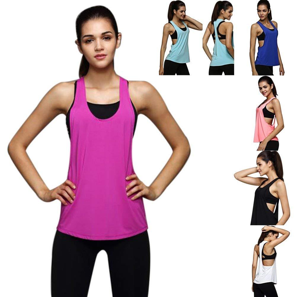Axchongery Women Blouse, Sexy Loose Camisole Training Run Blouse Summer Sport T-Shirt