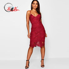 Custom v neck red fashion lace sexy qualities strap evening dress
