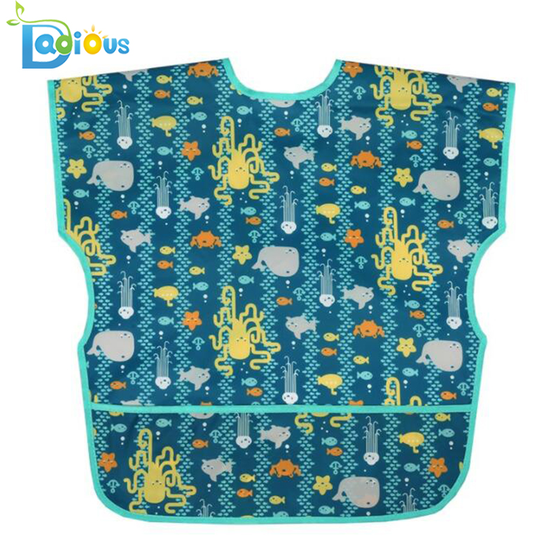 New Arrival Waterproof Feeding Baby Bib Polyester Baby Short Sleeve Bib Washable Apron Baby Bib for Toddlers