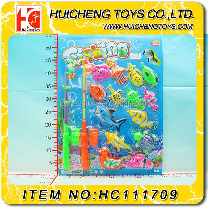 Funny kids Eco-friendly colorful 2 fishing rods 14PCS ocean animals fishing game EN71, 7P