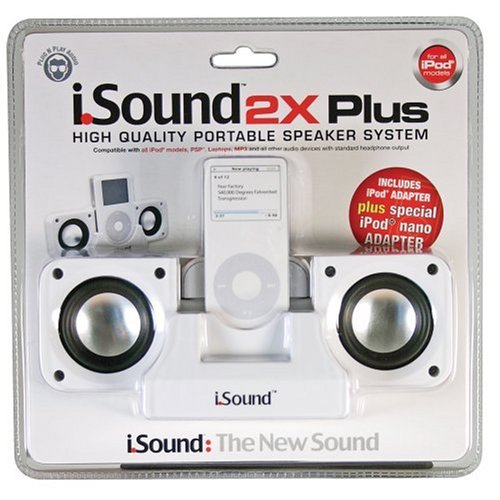 DreamGear i.Sound 2x Plus Foldable Speaker System for iPod and MP3 Players (White)