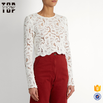 5a6d6c87577b 2017 trending products 100% cotton white long sleeves ladies lace tops  latest design