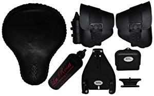 La Rosa Design Solo Seat/harley Davidson Conversion Kit/left and Right Leather Saddle Bags Combo Set