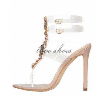 ceec840f4 New arrival flower crystal studded sexy stiletto heels sandals ladies  transparent front double ankle strap with