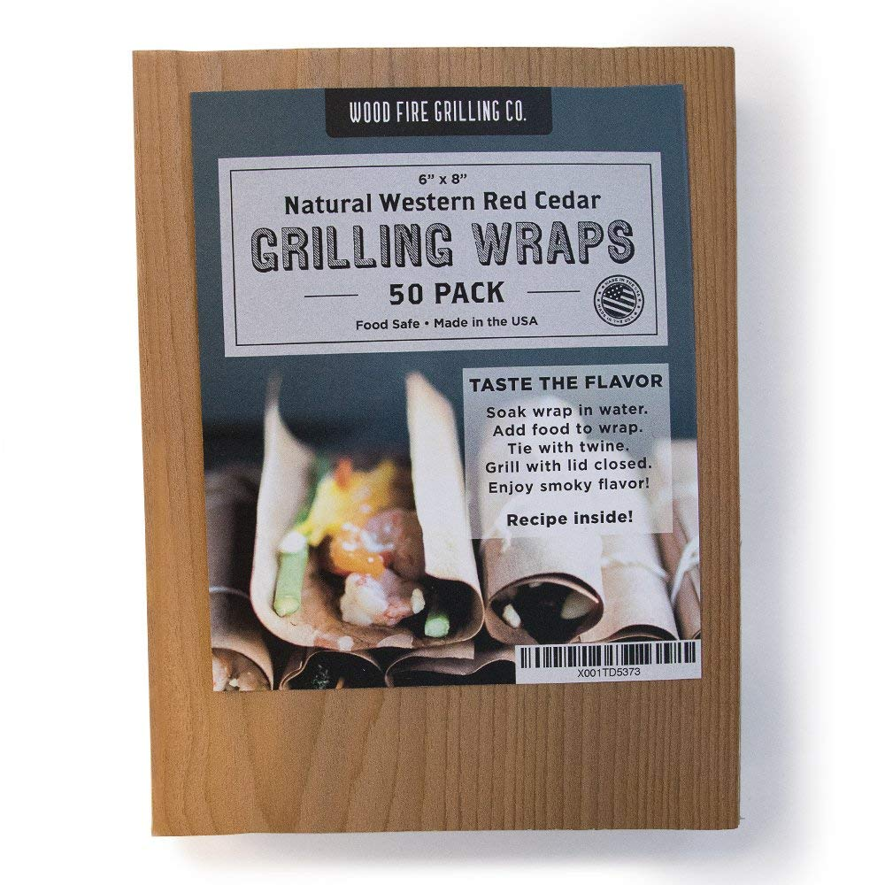 """Wood Fire Grilling Co. Cedar Grilling Wraps - 50 Pack (6""""x8"""") - Perfect for Fish, Chicken, Seafood, Veggies and More"""