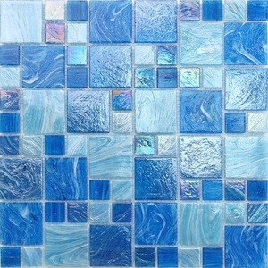 China wholesale square blue blend hot melt glass mosaic for swimming pool