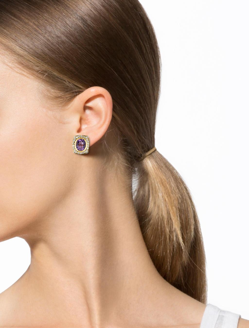 genuine amethyst stud earrings silver thailand jewelry