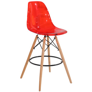 Red color PC silla plastica high bar stool chair with wood legs