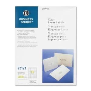 "Business Source Laser Labels, Return Address, 1/2""X1-3/4"", 2000/Pk, Clear - Business Source Laser Labels, Return Address, 1/2""X1-3/4"", 2000/Pk, Clearclear Address Labels With A Matte Finish Virtually"