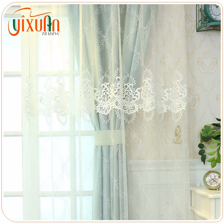 Chinese beautiful embroidered sheer voile curtain