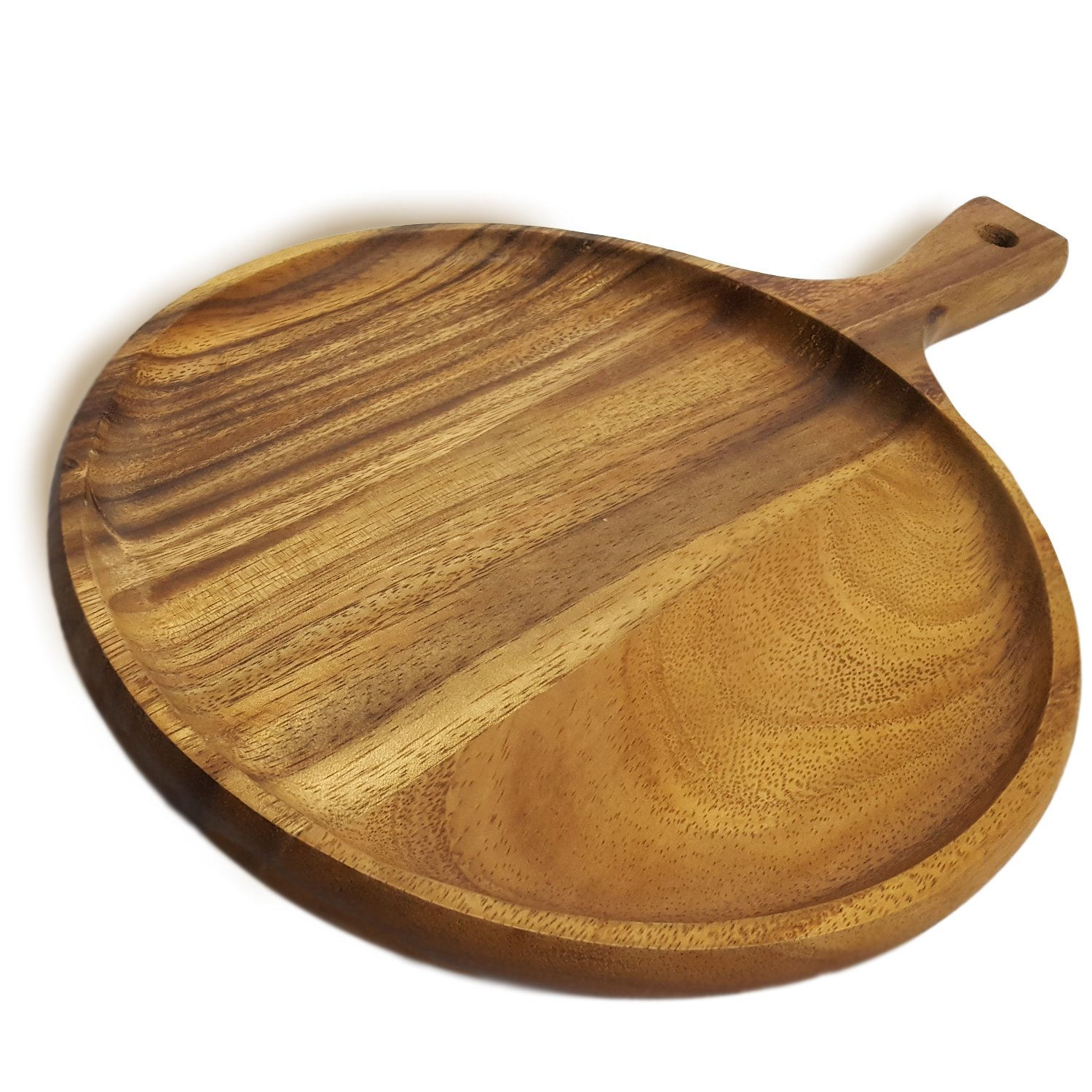 RoRo Acacia Wood Round Tray for Small Pizzas and Appetizers, 14 x 10 Inch
