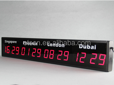 More City Names Time Zone Options Digital Wall LED Display World Clock