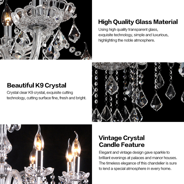 Candle Holder Chic Cristal Classic Customization Crystal Brisk Luxurious Chandelier
