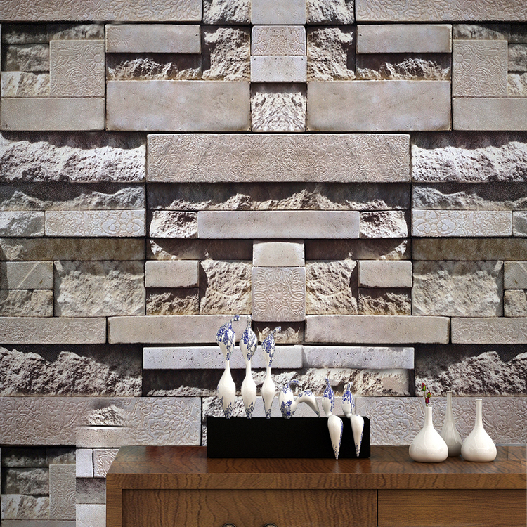 Washable waterproof 3 d embossed removable self adhesive vinyl 3d brick stone wallpaper for cafe office decoration